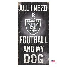 Fan Creations Oakland Raiders Distressed Football And My Dog Sign