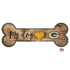 Fan Creations Green Bay Packers Distressed Dog Bone Wooden Sign