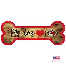 Fan Creations Kansas City Chiefs Distressed Dog Bone Wooden Sign