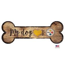 Fan Creations Pittsburgh Steelers Distressed Dog Bone Wooden Sign