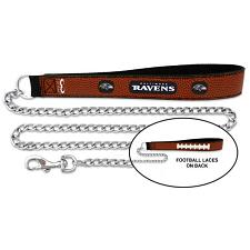 GameWear Baltimore Ravens Football Leather and Chain Leash - Large