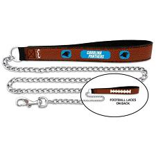 GameWear Carolina Panthers Football Leather and Chain Leash - Large