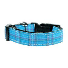 Mirage Pet Products Blue Plaid Nylon Ribbon Dog Collar - MD