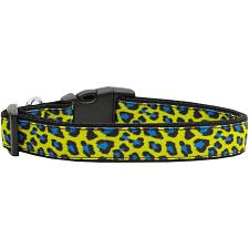 Mirage Pet Products Blue Leopard Print Nylon Ribbon Dog Collar - MD