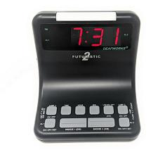DEAFWORKS Futuristic 2 Dual Alarm Clock with Flashing or Steady Light mode and