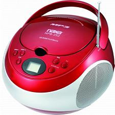 Portable MP3/CD Player with AM/FM Stereo Radio- Red