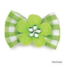 Pet Edge Aria Gingham Dog Bows - Parrot Green