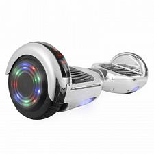 Hoverboard in Silver Chrome with Bluetooth Speakers
