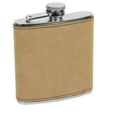 Generic Erie 216 6oz. Leatherette Wrapped Stainless Steel Flask