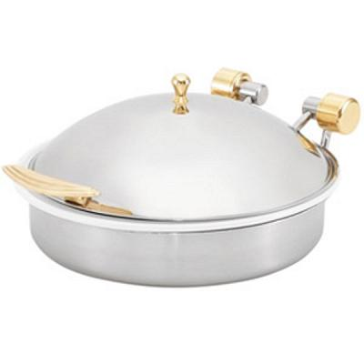 Vollrath 46120 Brass Trim 6 Quart Induction Chafer with Porcelai