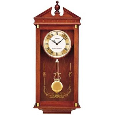 Seiko Brown Oak Wall Clock with Pendulum - QXH107BLH