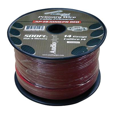 Audiopipe 14 Gauge 100% Copper Series Primary Wire - 500 Foot Roll - Red  Jacket