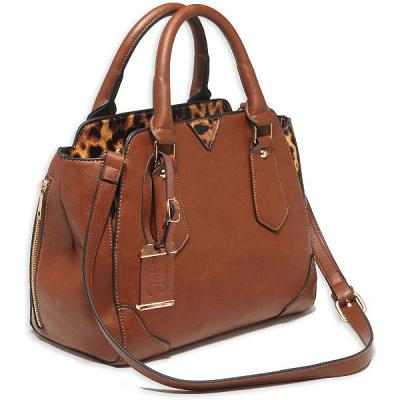 "Bulldog Satchel Style Purse W/Holster - Chestnut W/Leopard Trim (16"" X 9.5"" X 5."
