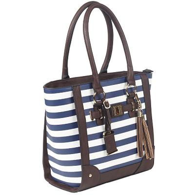 "Bulldog Tote Style Purse W/Holster - Navy Stripe (17"" X 12"" X 5"")"
