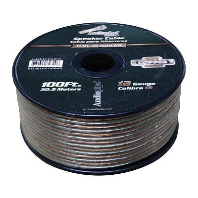 Audiopipe 12 Gauge 100% Copper Series Speaker Wire - 100 Foot Roll - Clear Pvc J