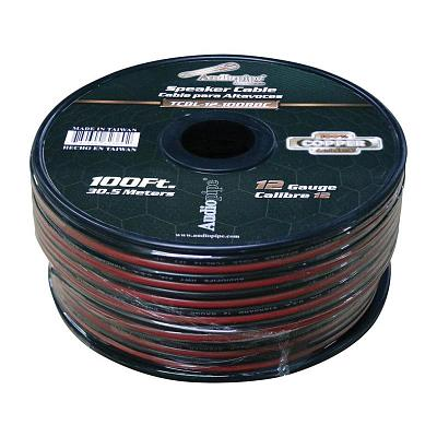 Audiopipe 12 Gauge 100% Copper Series Speaker Wire - 100 Foot Roll - Red/Black